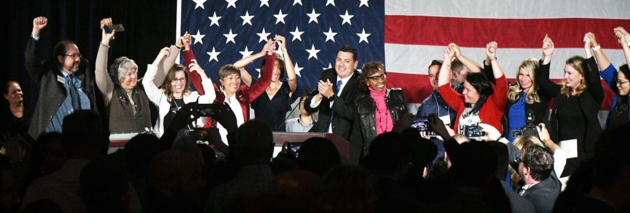 Winning Democratic senators — many of them women — gather to celebrate their victory at a watch party in downtown Denver on election night in 2018.
