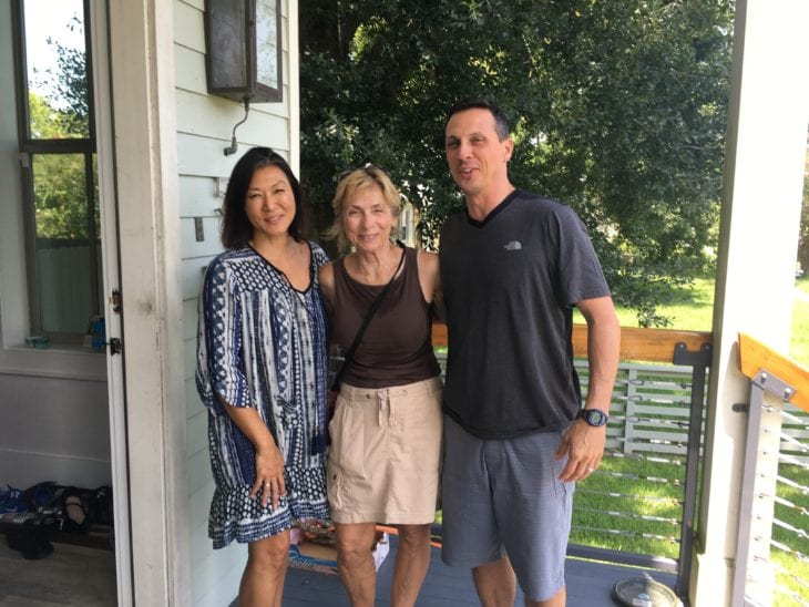 Tammy meeting a couple while canvassing