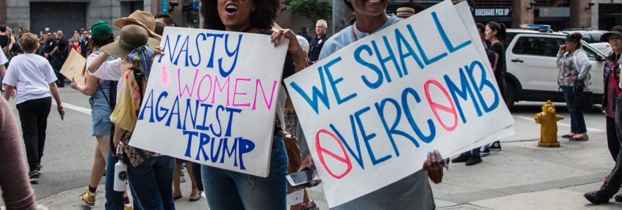 Two women protesting after the post-election protest in Los Angeles, California 2016.